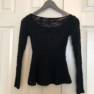 H&M Size 2 Black Lace Peplum Top