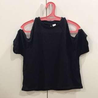 H&M Cold Shoulder Black Sheer Top