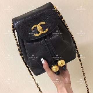 (SOLD)Chanel Vintage 黑色荔枝皮水桶斜孭袋