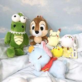 送扭蛋 迪士尼睡眠小飛象 奇奇 皮卡丘 P助 凸眼恐龍 娃娃 玩偶