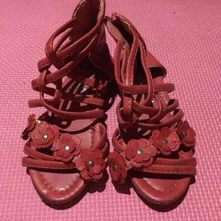 Red gladiator sandals