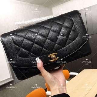 (SOLD)Chanel Vintage 黑色荔枝皮 Diana Bag 25cm