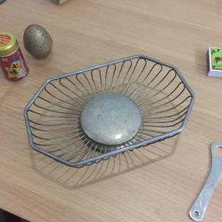 早期 金屬製 點心籃 鑰匙盤 擺飾盤 古董飾品