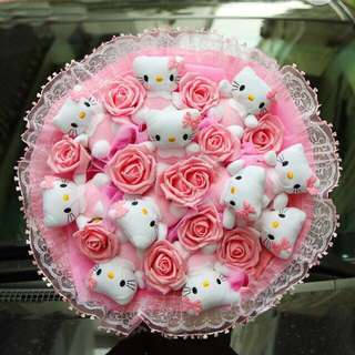 Lovely Hello Kitty Pink Rose Flower Bouquet