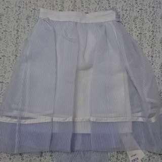 正品 snidel 細紗條紋澎裙 蝴蝶結 條紋 水藍