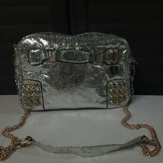 Gold & Silver Gold Chain Bag