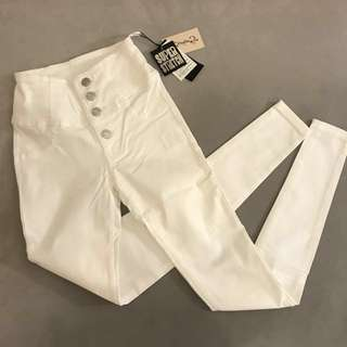 72%off tokyo high waist skinny jeggings jeans - white buttoned up sexy tight
