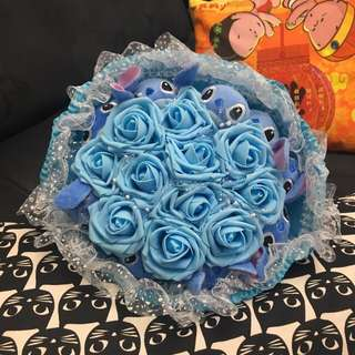 Lovely Stitch Blue Rose Flower Bouquet