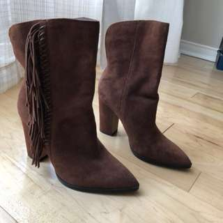 BN Dolce Vita brown Ileen suede fringe booties