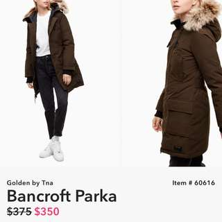 TNA BANCROFT PARKA - FOREST GREEN 100% DOWN