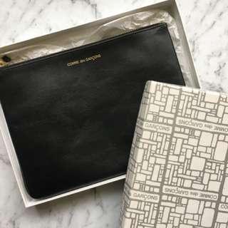 COMME DES GARÇON classic wallet pouch black leather