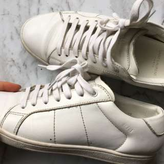SAINT LAURENT WHITE SNEAKERS LEATHER 6.5