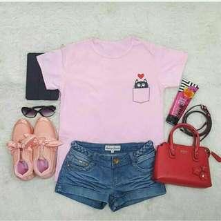 kaos cat in pocket pink