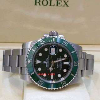 Used Excellent Condition Rolex Submariner 116610LV Green Ceramic Bezel (HULK)
