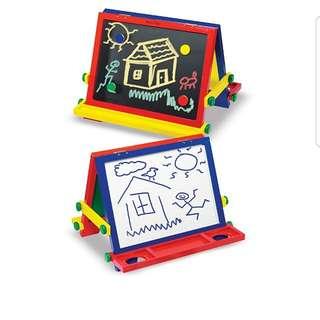 Melissa & Doug Wooden Magnetic Tabletop Art Easel - Dry-Erase Board and Chalkboard