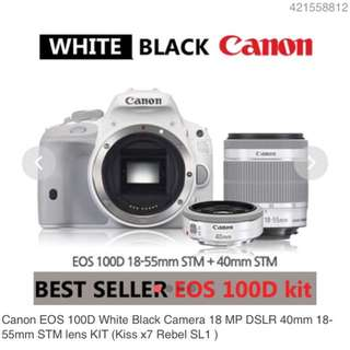 Canon EOS KissX7 100D (White) with  18-55mm + 40mm F2.8 STM (White) Twin Lens