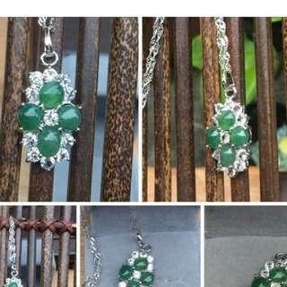 天然翡翠綠玉髓套組   項鍊   戒指,手鍊