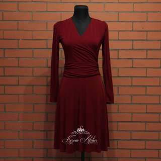 Maroon Empire Cut Dress (Korean Atelier 1009