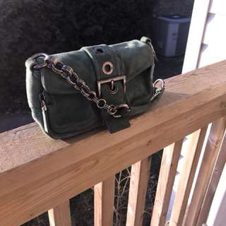 Prada Handbag Green Suede Authentic