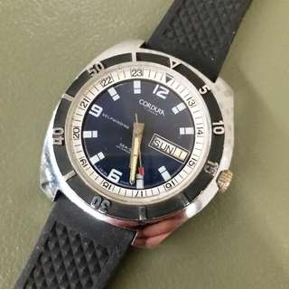 CORDURA  ( BREITLING 支線 )  等同  ROLEX  TUDOR   大細邊   42mm   ( 不連霸的 )   古董自動潛水錶 約70年代   淨頭   ( 不連相中帶 )   紫藍色面