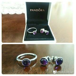 Pre-loved Pandora February Droplet Earrings & Ring (size 50)