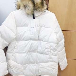 全新💋韓國$320 米白色羽絨外套