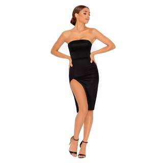 OH POLLY THIGH SPLIT SATIN BANDEAU DRESS IN BLACK