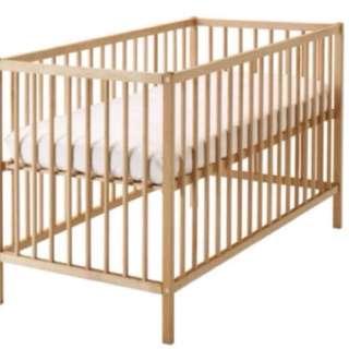 Ikea Baby Cot + Mattress + 1fitted sheet