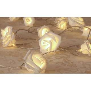 White Rose Fairy Lights SET OF 2