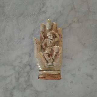 Vintage Ceramic Buddha Hand With Monkey God height 15cm perfect