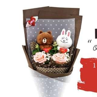 LINE Brown & Cony Valentines Bouquet