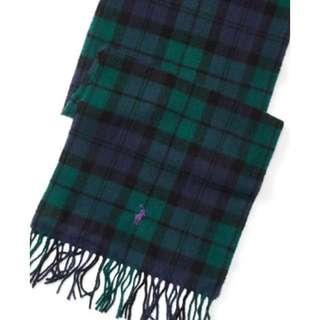 意大利製造Ralph Lauren 100%羊毛格仔頸巾(2色)