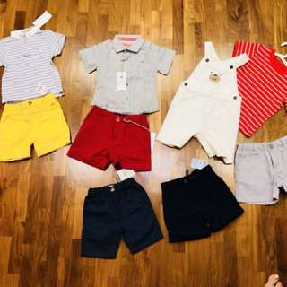 Brand new baby boy clothes for cny! Shorts, jumper, mandarin shirts, polo tee. From branded shops like chateau de sable, carters, Mothercare and baby fox. Size 12m to 24m.
