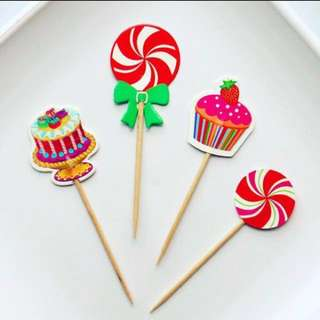 8pcs Candy Land Lollipop Party Cupcake Toppers Cake Topper Muffin Decoration Baking Picks Birthday Party