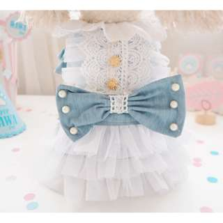 BN Denim Lace Ribbon Pets Dress - for Cats/ Dogs