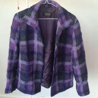 Purple Tartan Mohair And Wool Coat Vintage Size 38