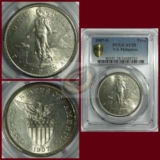 1907-S US-Philippines Peso - PCGS AU58