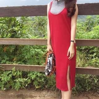 Dress merah+daleman blouse abu2 top