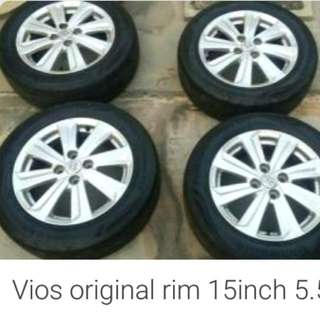 Vios 2017 original rim with tyres 80%