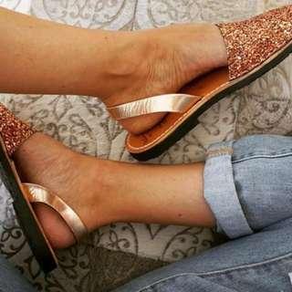 Palmaira bronze glitter sandals size 36