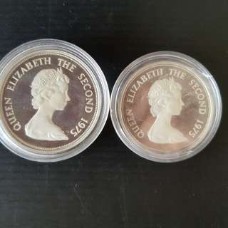 1975 Mauritius Silver Proof 25 & 50 Rupees