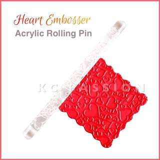 🎂 ACRYLIC ROLLING PIN TOOL • HEART DESIGN EMBOSSER