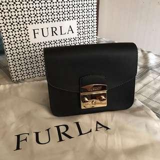 Furla black leather cross body bag