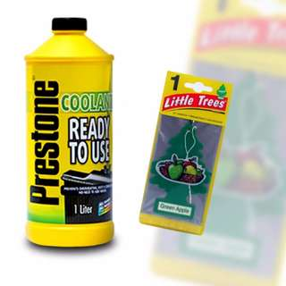 Prestone Ready-to-use Coolant 1L + Little Trees  Green Apple Car Freshener(Set of 4)