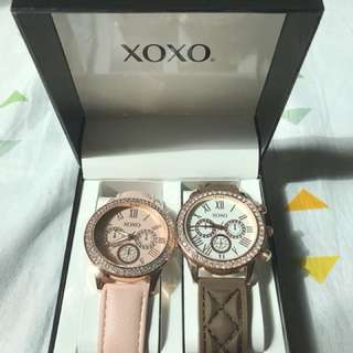 XOXO ladies fashion watch w/ rubber and leather strap