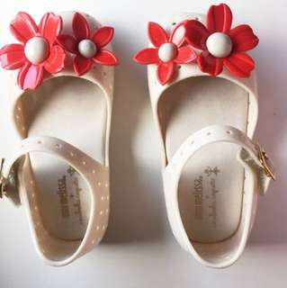 PL Mini Melissa White shoes with Flowers