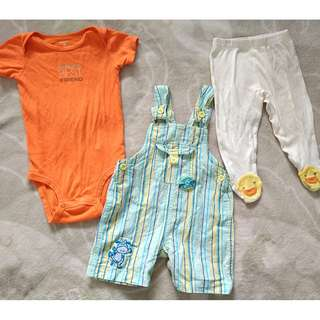 SET OF CARTER'S PANTS & ROMPER MIX WITH TENDERLY OVERALLS