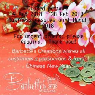 Gong Xi Fa Cai! Wishes from Barbette's Creations!
