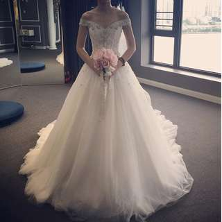 Wedding Collection - Lovely Little Pearls Beads Design Off Shoulder Elegant Long Tail Wedding Gown