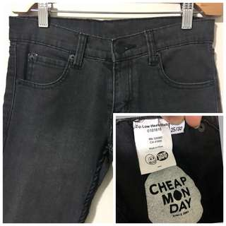 Cheap Monday 25 Zip Low Heavy Black Skinny Jeans